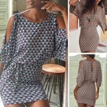 Robe Elégante à la Mode Sexy à Demi-Manches Epaules Dénudées à Imprimés