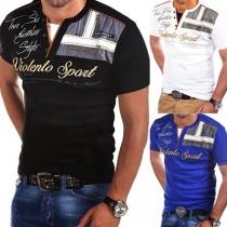 Fashion V-Neck Letters Printed Short Sleeve Man's T-Shirt