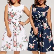 Fashion Sleeveless Round Neck High Waist Printed Dress