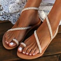 Sandales à Talons Plats Stylées Douces à la Mode avec les Cristaux