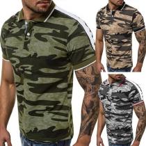 Fashion Short Sleeve POLO Collar Camouflage Printed Man's T-shirt