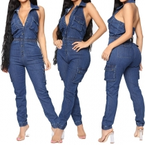 Sexy Backless High Waist Slim Fit Denim Jumpsuit