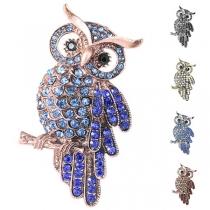 Cute Style Rhinestone Inlaid Owl Shaped Brooch