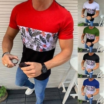 Fashion Contrast Color Printed Short Sleeve Man's T-shirt