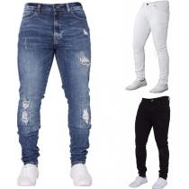 Jeans Stylé à la Mode Troué Pour les Hommes
