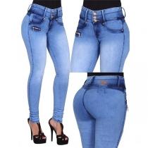 Jeans Moulant Stylé à la Mode à la Taille Haute
