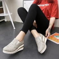 Fashion Wedge Heel Round Toe Rhinestone Spliced Shoes
