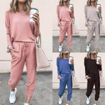 Deux-Pièces Stylé à la Mode:Tee-Shirt à Manches Longues+Pantalon
