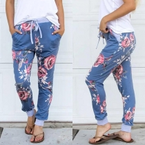 Fashion Drawstring Waist Printed Casual Pants
