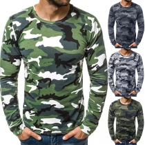 Fashion Camouflage Printed Long Sleeve Round Neck Man's T-shirt