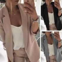 Blazer/Veste Stylée à la Mode OL Style à Revers à Manches Longues