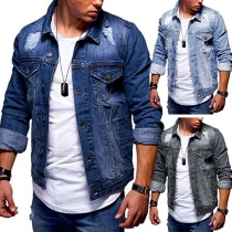 Fashion Long Sleeve POLO Collar Ripped Man's Denim Coat
