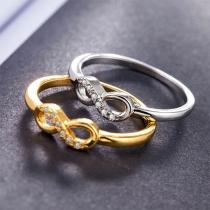 Fashion Rhinestone Inlaid Infinite Symbol Ring