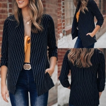 Fashion Long Sleeve Striped Cardigan Blazer