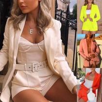 OL Style Long Sleeve Blazer + High Waist Shorts Two-piece Set