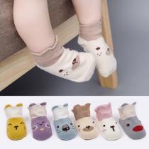 Chaussettes 2-Paires Douces Mignonnes à la Mode à Imprimés en Couleur Contrastée Pour les Bébés