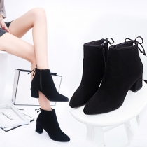 Fashion Thick Heel Pointed Toe Side-zipper Ankle Boots Booties
