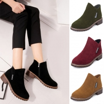Fashion Flat Heel Round Toe Side-zipper Boots Booties