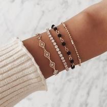 Bracelet de 4-Pièces Stylé Chic à la Mode avec les Cristaux