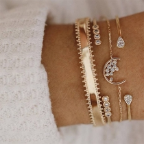 Bracelet de 4-Pièces Chic Doux Stylé à la Mode avec les Cristaux