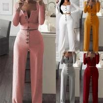 Deux-Pièces Doux Stylé à la Mode Sexy :Top Court au Col Carré+Pantalon à la Taille Haute