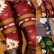 Leggings de Noël Moulant Stylé à la Mode à la Taille Haute à Imprimés