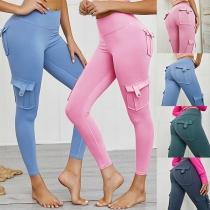 Leggings Moulant Stylé à la Mode à la Taille Haute avec les Poches