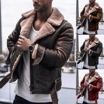 Veste Douce Stylée à la Mode à Revers en Cuir Synthétique&Faux Cachemire Pour les Hommes