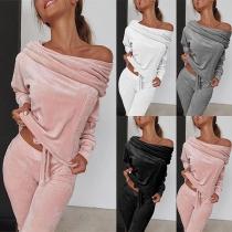 Ensemble Décontracté Stylé Doux à la Mode Sexy :Pull au Col Bateau+Pantalon