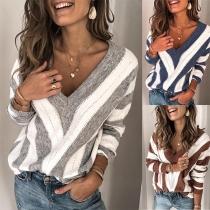 Sweater/Pull Doux Stylé à la Mode Sexy Encolure V en Couleur Contrastée en Tricot