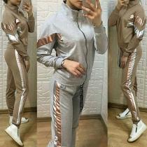 Ensemble Sport Décontracté Stylé à la Mode en Couleur Contrastée :Veste à Manches Longues+Pantalon