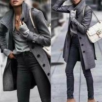 Veste à la Mode à Manches Longues à Simple-Boutonnage(Taille Petite)