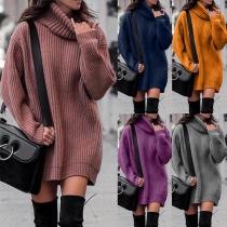 Robe de Sweater Douce Elégante à la Mode au Col Rabattu à Manches Longues