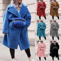 Veste Ample Douce Stylée à la Mode à Manches Longues en Pilou avec un Sac