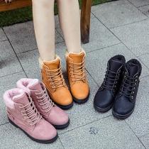 Boots à Talons Plats Doux Stylés à la Mode à Lacets avec une Doublure en Pilou