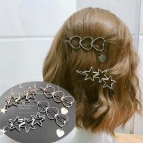 Pince/Epingle à Cheveux Douce Stylée à la Mode avec un Design de Pentacle/Cœur