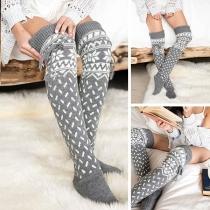 Chaussettes Longues Douces Elégantes à la Mode à Imprimés en Tricot