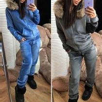 Deux-Pièces Doux Stylé à la Mode :Veste de Pull à Capuche avec les Fourrures Synthétiques+Pantalon