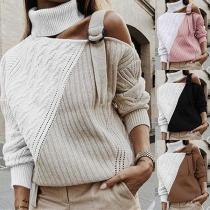 Pull/Sweater Chic Stylé à la Mode Sexy Epaule Dénudée à Manches Longues en Couleur Contrastée en Tricot