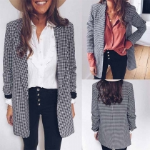 OL Style Long Sleeve Plaid Blazer Coat
