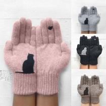 Gants Doux Mignons à la Mode à Imprimés de Chat en Tricot
