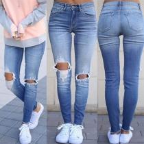 Jeans Moulant Stylé à la Mode Troué à la Taille Haute
