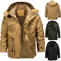 Fashion Solid Color Long Sleeve Hooded Plush Lining Men's Coat