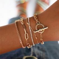 Bracelet de 5-Pièces Stylé Chic à la Mode avec les Cristaux