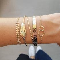 Bracelet de 5-Pièces Chic Stylé à la Mode avec un Design de Feuille