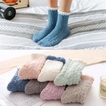Chaussettes de 2-Paires Douces à la Mode en Couleur Contrastée en Pilou