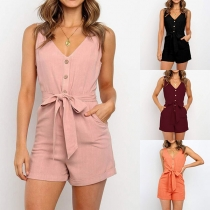 Sexy V-neck Sleeveless Front-button High Waist Romper