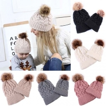 Fashion Solid Color Hairball Spliced Parent-child Knit Beanies
