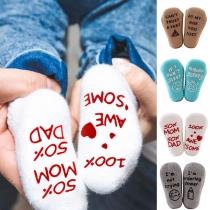 Chaussettes de 2-Paires Douces Mignonnes à la Mode à Imprimés de Lettres Pour les Bébés