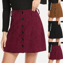 Fashion Solid Color High Waist Front-botton Skirt